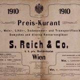 Preis-kurant über Bier-, Wein-, Likör-, Sodawasser- und Transportflaschen, Demyohns und diverse Konservengläser / von S. Reich & Co., k.k. priv. Glasfabrikanten, Wien, 1910.