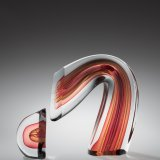 Red/Amber Sliced Descending Form - Harvey K. Littleton