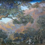 Mural, The Dream Garden, 1916. Tiffany Studios. Glass mosaic. Curtis Publishing Company Building (now The Curtis Center & Dream Garden); mural in the collection of Pennsylvania Academy of Fine Arts (2001.15, partial bequest of John W. Merriam; partial purchase with funds provided by a grant from The Pew Charitable Trusts; partial gift of Bryn Mawr College, The University of the Arts, and The Trustees of the University of Pennsylvania), Philadelphia, Pennsylvania.