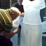 Reinstallation of Evening Dress with Shawl by Karen LaMonte at The Corning Museum of Glass