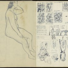 Pages from one of Sybren Valkema's sketchbooks. The right pages is dated 7 June, 1948, at the time Sybren was both teaching at the glass school in Leerdam and at the IvKNO, Instituut voor Kunstnijverheidsonderwijs, later renamed the Gerrit Rietveld Academie in Amsterdam.