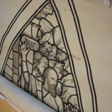Unrolling the conserved cartoon of the Eastman Memorial Window designed for Park Church in Elmira, NY.