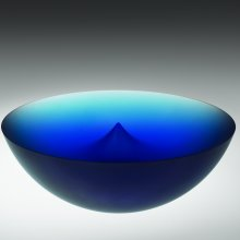 Blue bowl, Frantisek Vizner (Czech, b. 1936) Czechoslovakia, Zdar nad Sazavou, 1996. Cast, cut, sandblasted, acid-etched. H. 10.2 cm, Diam. 29.2 cm. Collection of The Corning Museum of Glass, gift of Andrea and Charles Bronfman (2006.3.47)