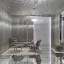 Reconstruction of Boudoir d´one grande vedette (Room for a Star), displayed at 1937 Paris International Exposition.  Designed by Josef Hoffmann (Austrian, 1870–1956).  MAK, Austrian Museum of Applied Arts / Contemporary Art (MAK H 3815-1, H 3815-2, 2058, H 2061; chandelier on loan from J. & L. Lobmeyr, Vienna). © MAK/Georg Mayer.