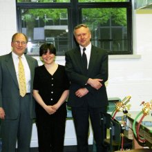 Amy Schwartz, Bill Gudenrath, and former Corning Museum of Glass director David Whitehouse celebrating the opening of The Studio in May 1996.