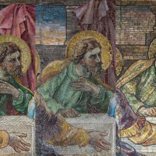 Detail of St. Andrew from three versions of The Last Supper reredos, Tiffany Glass and Decorating Company, designed by Frederick Wilson (British, b. Ireland, 1858–1932). Glass mosaic.  Left to Right: First Independent Church of Baltimore (now First Unitarian Church), Baltimore, Maryland, 1897; Chapel, Clifton Springs Sanitarium (now The Spa Apartments), Clifton Springs, New York, 1898; Christ Episcopal Church, Rochester, New York, 1902.