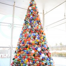 14-foot ornament tree with over 2000 glass ornaments.