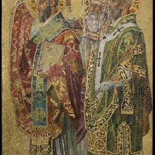 Panel, Fathers of the Church, about 1892. Tiffany Glass and Decorating Company, designed by Joseph Lauber (American, b. Germany, 1855–1948). Glass and plaster. H. 248.3 cm, W. 148.6 cm. The Neustadt Collection of Tiffany Glass, Queens, New York.