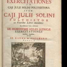 Plinianae exercitationes in Caji Julii Solini Polyhistora (Extracts from Pliny in the Polyhistor of Gaius Iulius Solinus), Claude Saumaise, Trajecti ad Rhenum, Burgundy [Utrecht, the Netherlands], Apud Johannem vande Water, Johannem Ribbium, Franciscum Halma, & Guilielmum vande Water, 1689. H. 41 cm, W. 5 cm; 3 vols. in 1; woodcut and engraved illustrations. (CMGL 136005, Gift of Susan W. Schwartz in memory of David Whitehouse. Collection of The Rakow Research Library of The Corning Museum of Glass.)