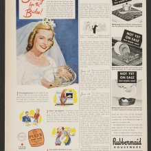 Something for the brides!, Corning Glass Works, published in Woman's Day, New York, 1945. Dianne Williams collection on Pyrex. CMGL 140777.