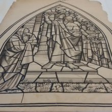 The conserved cartoon of the Eastman Memorial Window designed for Park Church in Elmira, NY.