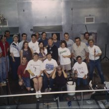 Jiří Harcuba's class poses for a picture. Pictured among others are Bill Gudenrath, Amy Schwartz and their daughter Sophia; and Eric Meek and George Kennard, who are now gaffers at The Corning Museum of Glass.