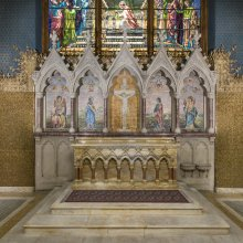"Reredos, 1891.  Tiffany Glass Company or Tiffany Glass and Decorating Company, designed by Jacob Adolphus Holzer (American, b. Switzerland, 1858–1938).  Glass mosaic, glass ""jewels;"" marble mosaic.  St. Paul's Episcopal Church, Troy, New York."