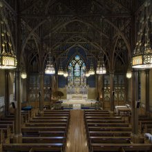 Interior of St. Paul's Episcopal Church, Troy, New York, 1891–1893.  Tiffany Glass Company or Tiffany Glass and Decorating Company, designed by Jacob Adolphus Holzer (American, b. Switzerland, 1858–1938).