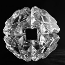 Clear cut glass geode with square hole in the center