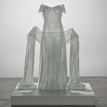 Opaque frosted glass evening dress with shawl