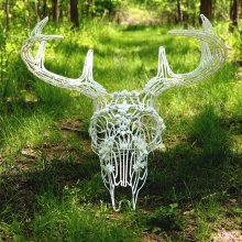 White, flameworked deer skull with flameworked antlers